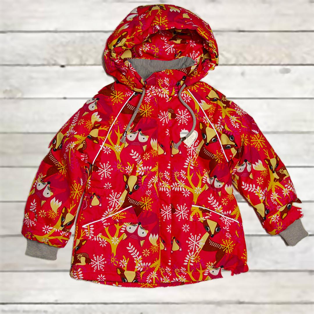 Термо куртка демисезонная для девочки от 1,5 до 5 лет красная