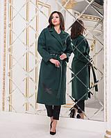 """Женское пальто из кашемира ниже колен """"Журавли"""" зеленое, фото 1"""