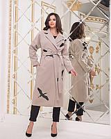 """Женское пальто из кашемира ниже колен """"Журавли"""" кофе с молоком, фото 1"""