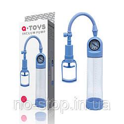 Помпа для пеніса Toyfa A-Toys, силікон, прозорий + синій, 20 см