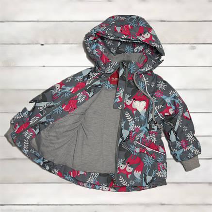 Термо куртка демисезонная для девочки от 4-5 лет серая, фото 2