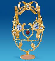Позолоченная фигурка Голуби с сердцем с кристаллами Сваровски