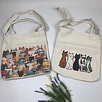 Тканевая сумка   Коты лого