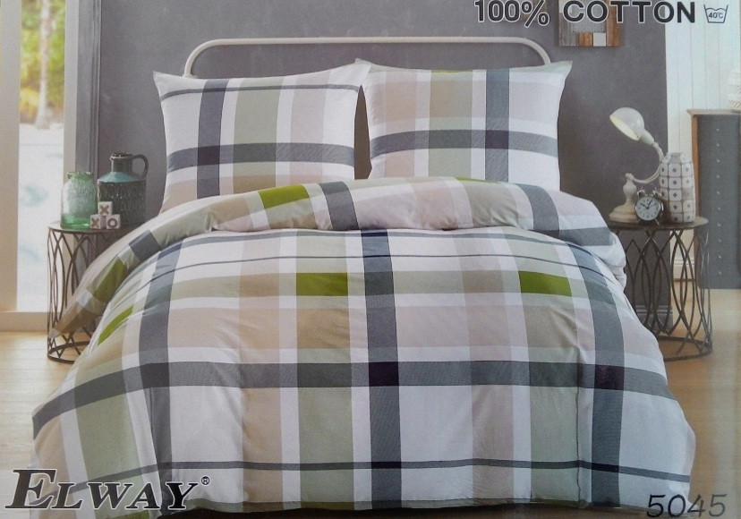 Сатиновое постельное белье евро  ELWAY 5045
