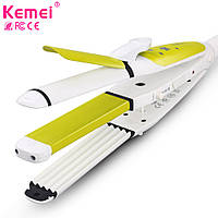Kemei КМ-2208 для укладки волос 3в1 плойка гофре утюжок, фото 1