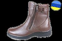 Мужские ботинки кожанные с усиленным пяткодержателем mida 14629шок коричневые   зимние , фото 1