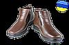 Мужские ботинки кожанные с усиленным пяткодержателем mida 14654шок коричневые   зимние