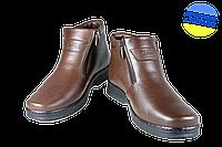 Мужские ботинки кожанные с усиленным пяткодержателем mida 14654шок коричневые   зимние , фото 1