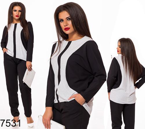 96a13536ae87 Деловой брючный костюм с блузкой (белый) 827531 - СТИЛЬНАЯ ДЕВУШКА интернет  магазин модной женской
