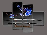 Модульная картина Голубые орхидеи 120*93 см  Код: 512.4к.120