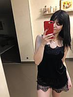Бархатная пижама с кружевами  Размеры S, M,  L