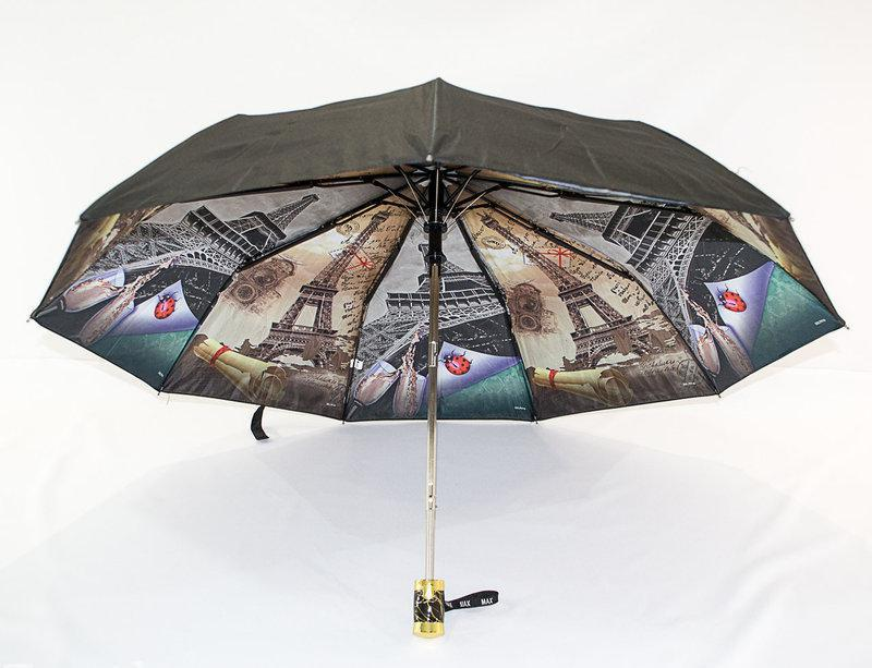 Женский зонт полуавтомат с двойной тканью и городами под куполом