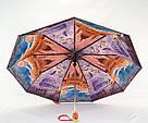 Женский зонт полуавтомат с двойной тканью и городами под куполом, фото 2