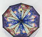 Женский зонт полуавтомат с двойной тканью и городами под куполом, фото 4