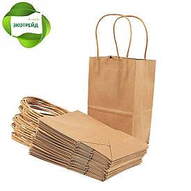 Бумажный пакет с кручеными ручками 260*140*335 бурый