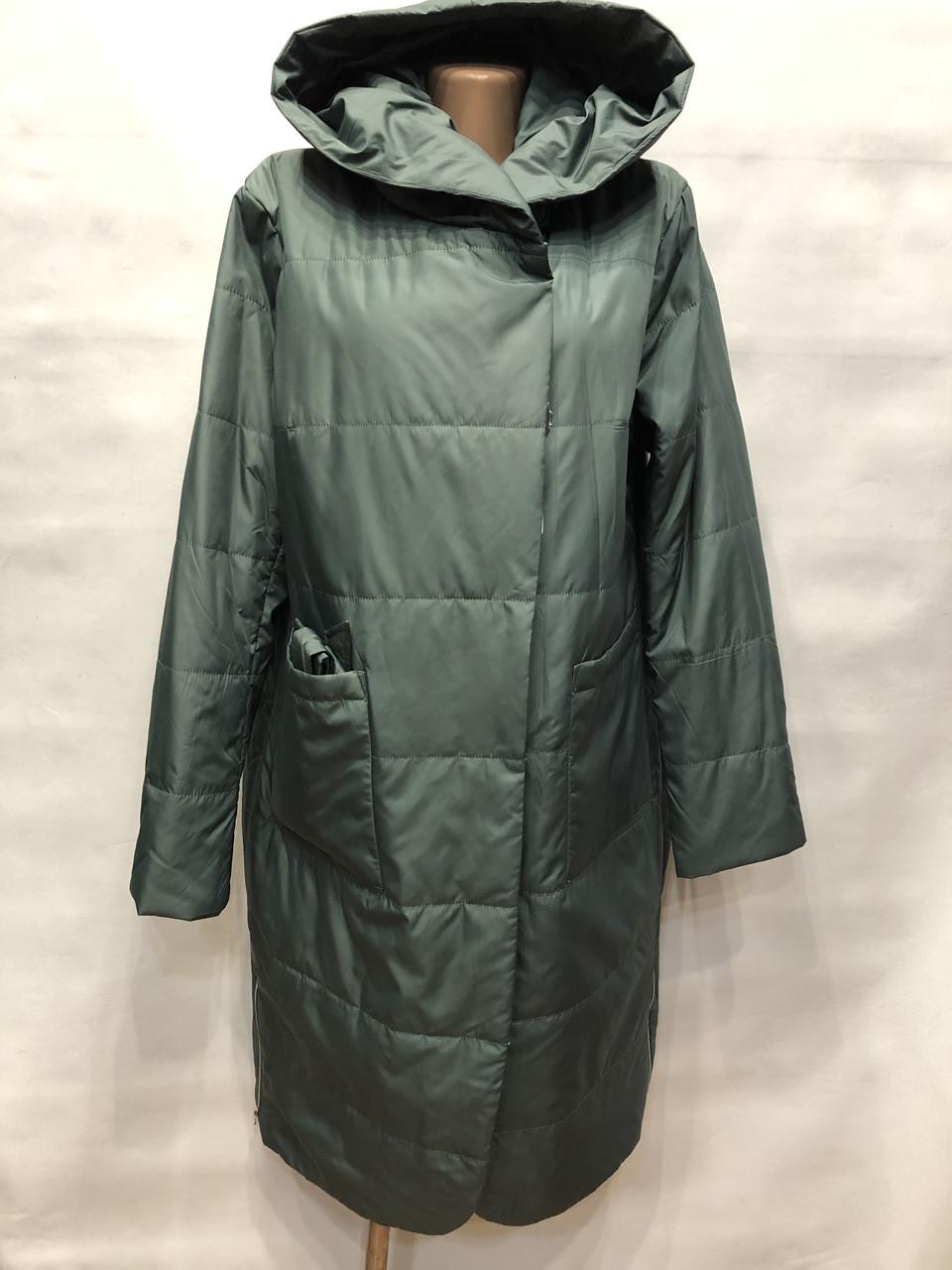 Женское пальто весна/осень зеленый 48 50 52 54 56