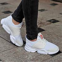 f691ea8ca Белые женские кроссовки удобные и красивые из бежевыми вставками легкая  подошва (Код: Б1344а)