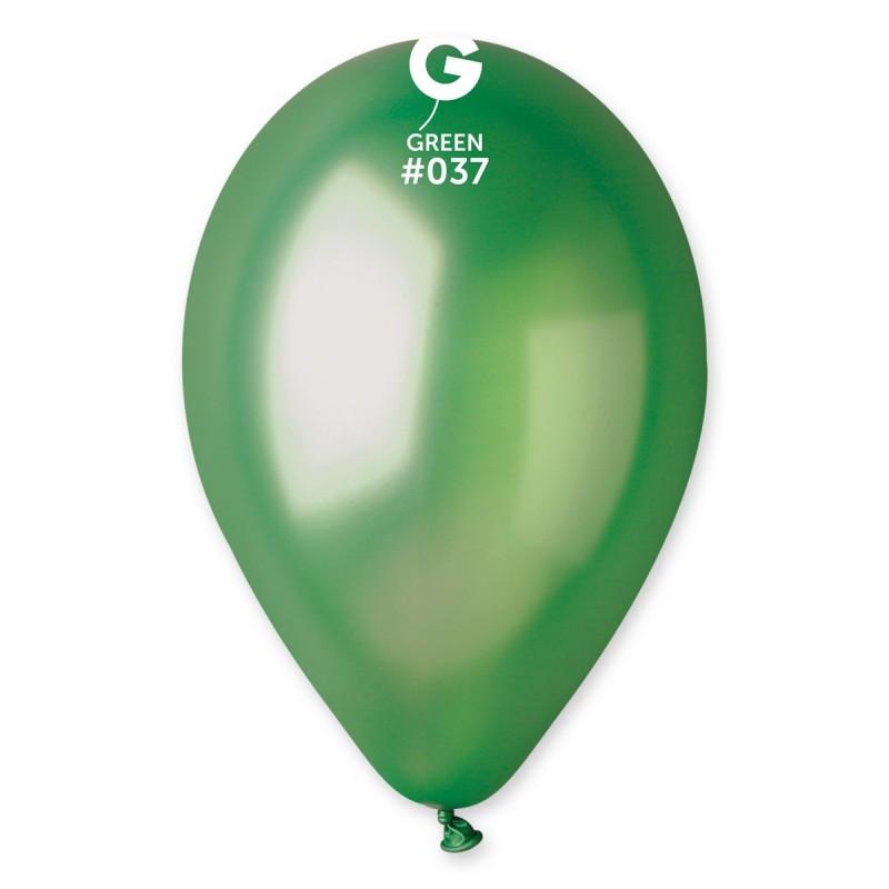 Латексные воздушные шары GM110_37 Gemar Италия, расцветка: металлик(перламутр) зеленый, Диаметр 12 дюймов/30 с