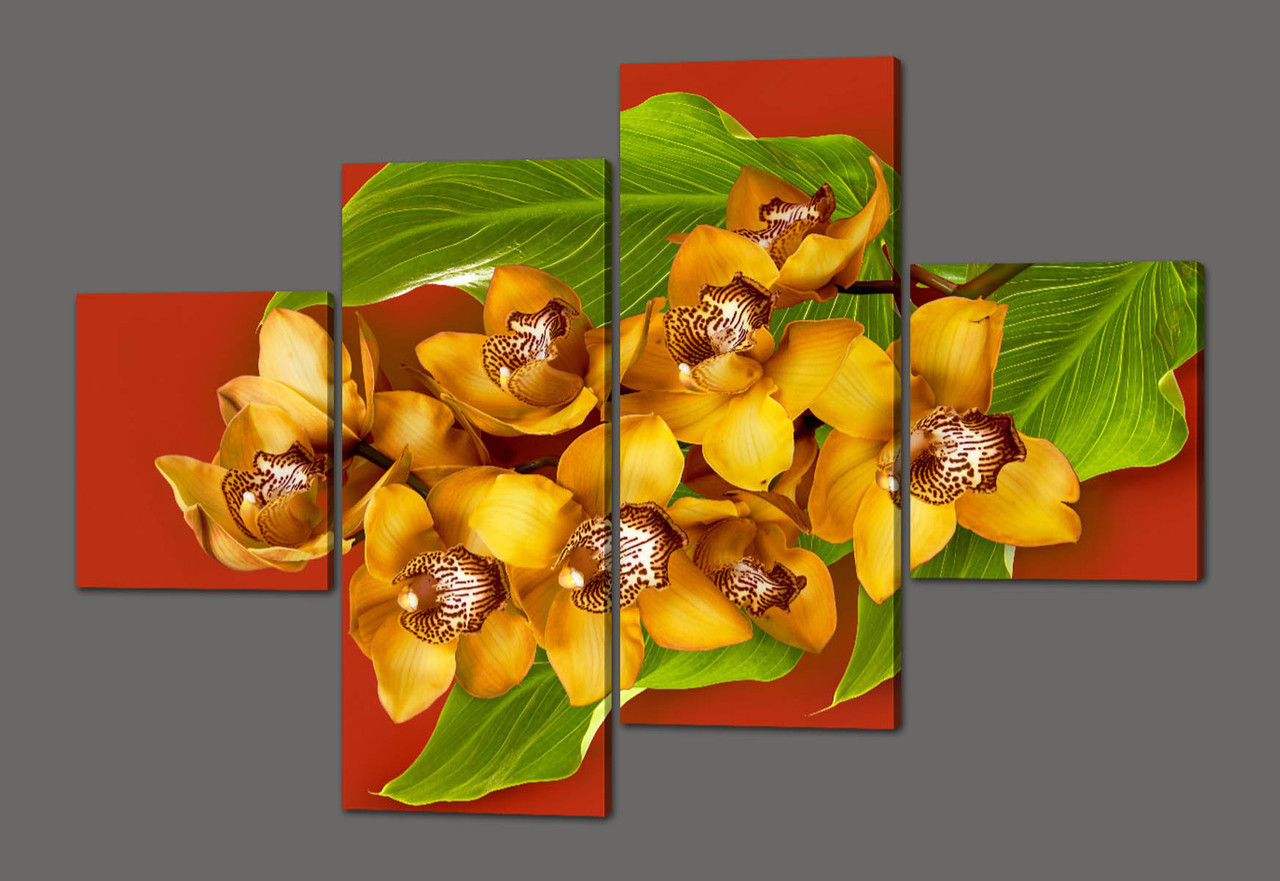 Модульная картина Желтые орхидеи 160*114 см  Код: 502.4к.160