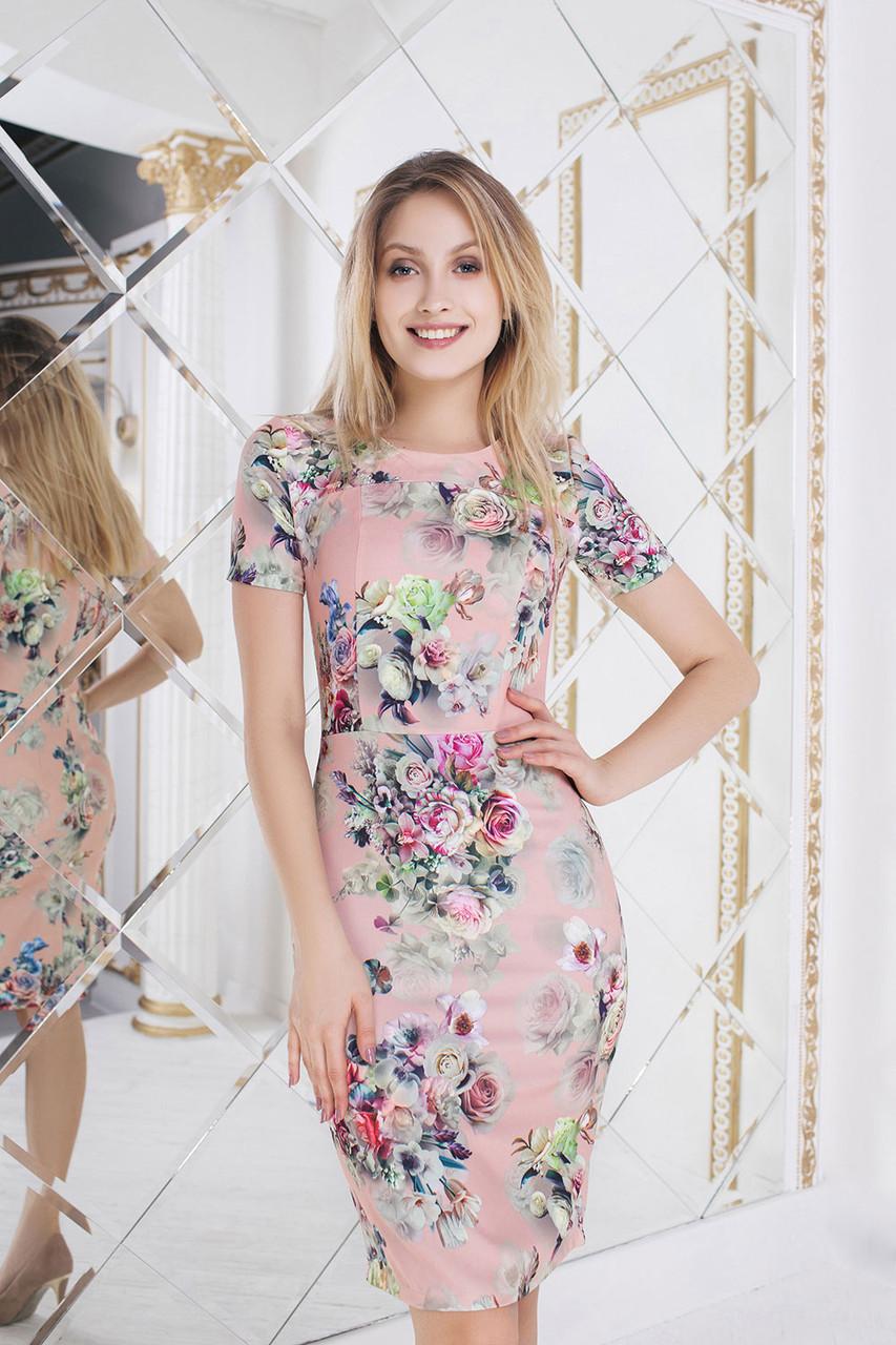 Мила пудровое Платье цветочный принт