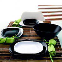 Набор квадратной черно-белой посуды Luminarc Carine Black&White  19пр    2381 - 1491
