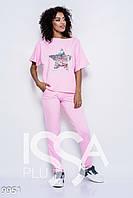 8b26834c Розовый трикотажный спортивный костюм из штанов и футболки с декором из  пайеток