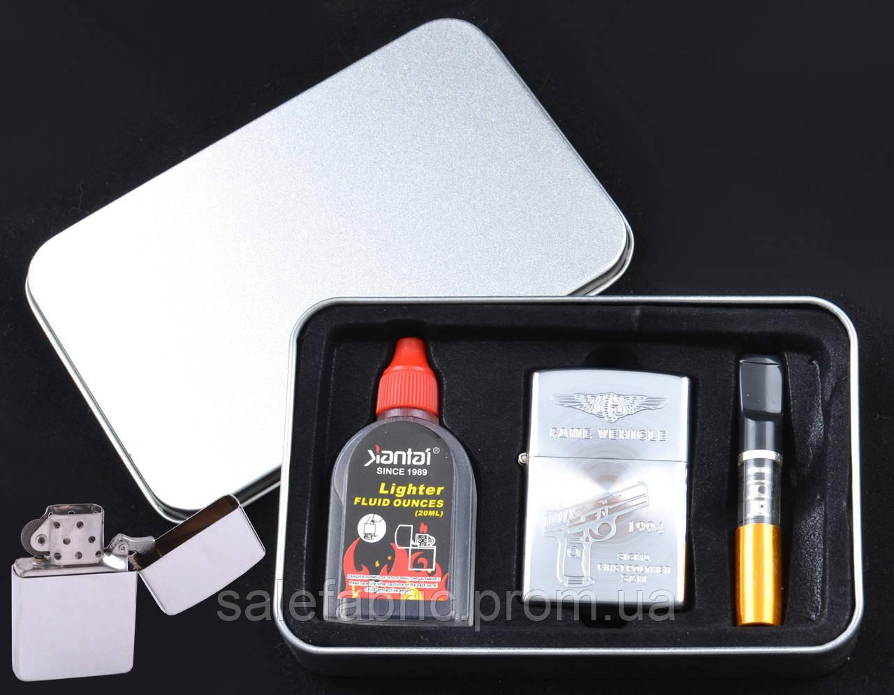 Зажигалка бензиновая в подарочной упаковке Пистолет №4708-4