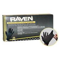 Нитриловые перчатки SAS Raven - черные суперпрочные , средние,  размер M,  100 штук, фото 1