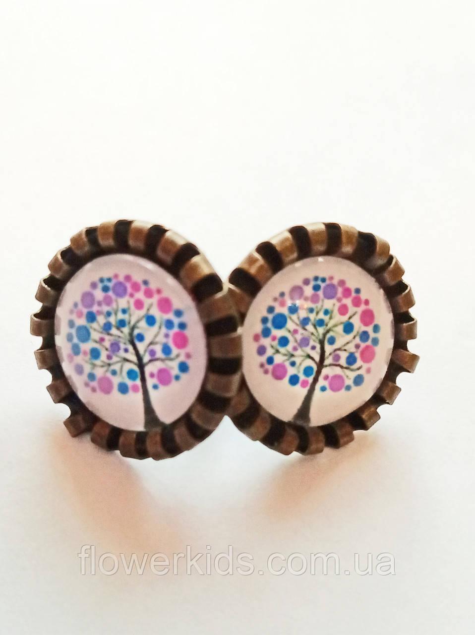 """Серьги-гвоздики пуссеты ручной работы """"Весеннее дерево"""""""