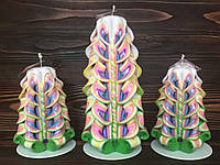 Подарочный набор резных свечей ручной работы