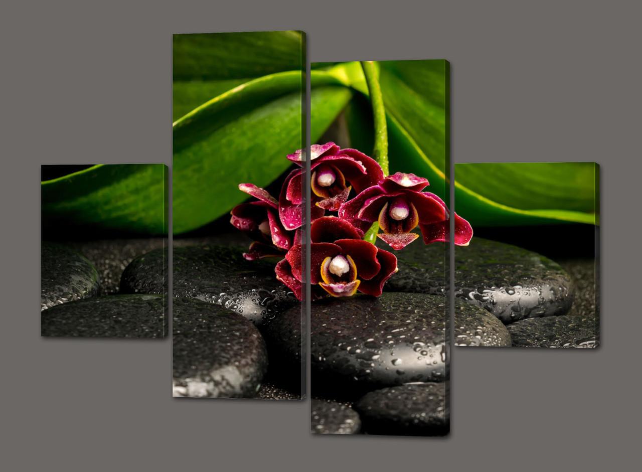 Модульная картина Орхидеи на камнях 120*93 см  Код: 498.4к.120
