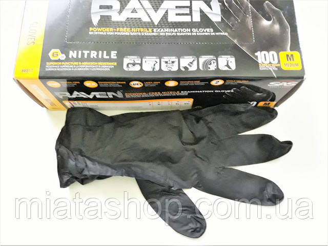 Нитриловые перчатки SAS Raven - черные суперпрочные , средние,  размер L,  100 штук