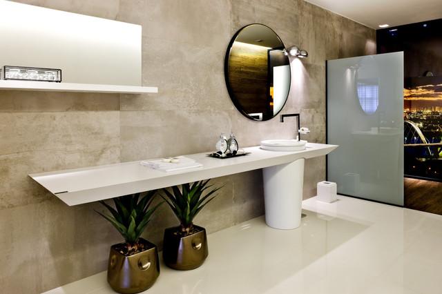 Cтолешница в ванную Искусственный камень - кварц Silestone Blanco Zeus - Photo