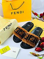 Стильные шлепанцы  'Fendi Mania' с мехом (реплика), фото 1
