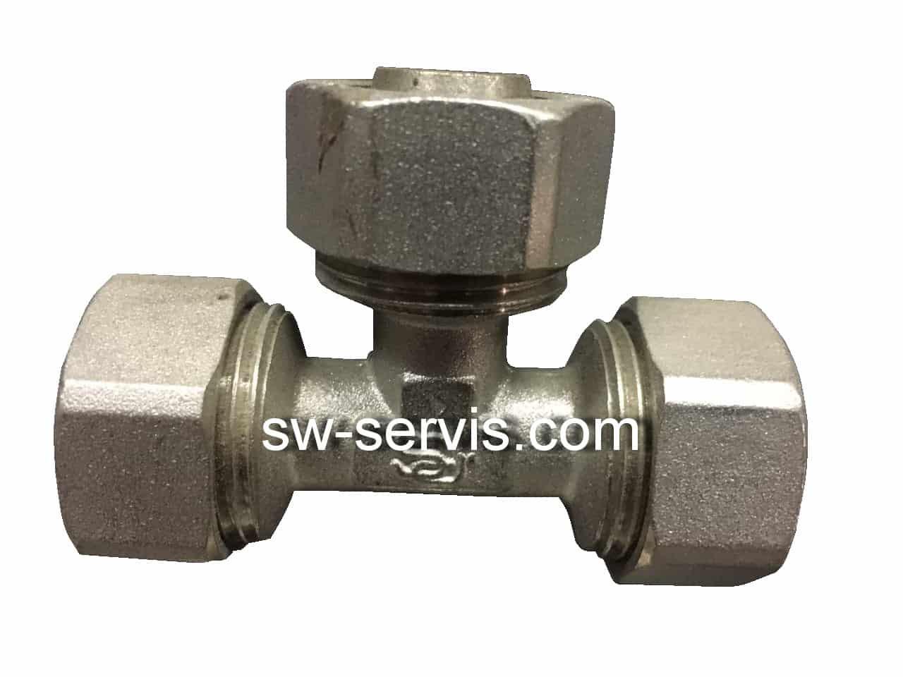 Трійник для металопластикової труби 16*16*16 посилений Forte