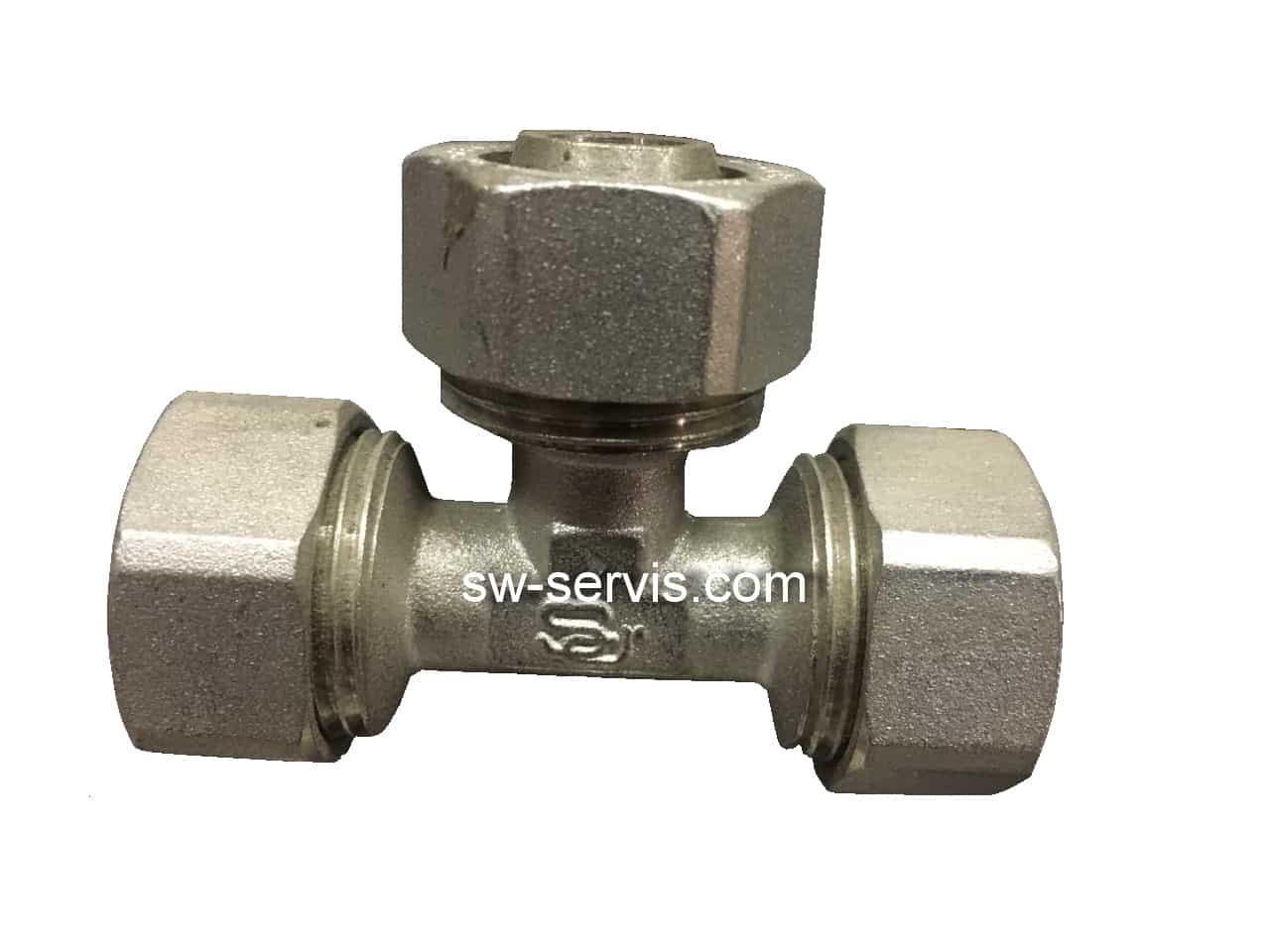 Тройник для металлопластиковой трубы 20*20*20 усиленный Forte