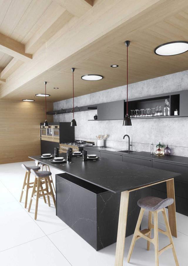 Cтолешница в кухню Искусственный камень - кварц Silestone Charcoal Soapstone - Photo