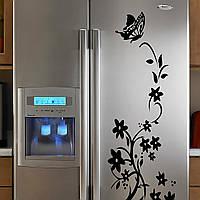 Наклейка на холодильник,мебель, виниловая. Цветы и бабочка. Черная, итерьерная.