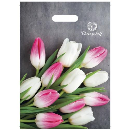 Полиэтиленовый пакет прорезь 220*300 Тюльпаны фото