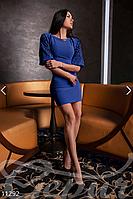 Женское облегающее короткое платье рукавом фонариком с перфорацией дайвинг, фото 1