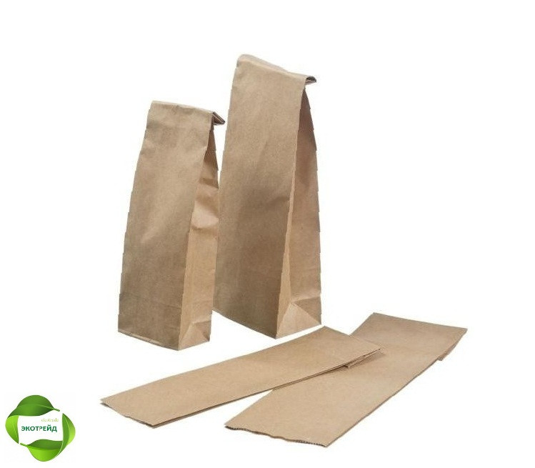 Бумажный пакет для чая и кофе с дном 95*65*190 бурый