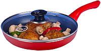 Сковорода HILTON FP 2233 красная, 3мм с крышкой