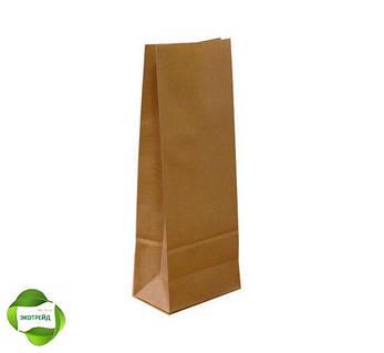 Бумажный пакет для чая и кофе с дном 95*65*190 бурый, фото 2