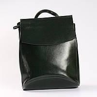 901ca82b7012 Женский кожаный рюкзак-сумка(трансформер), темно-зеленый