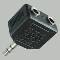Переходник шт.3,5мм стерео- 2х гн.3,5мм стерео ,корпус пластиковый 10 штук