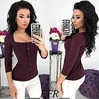 Красивая трикотажная женская кофточка свитер с пуговицами бордовая S-M L-XL , фото 1