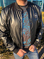 Мужская Кожаная куртка в стиле Philipp Plein