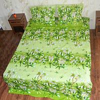 Полуторное постельное белье  Gold ткань бязь зеленое