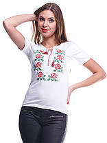 "Футболка вышиванка ""Розы"" белая KRAYKA, фото 2"