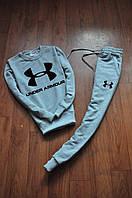 Мужской спортивный костюм, чоловічий костюм Under Armour (серый+черный лого), Реплика